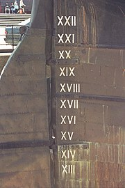 Roman numbers on stern of Cutty Sark, Greenwich