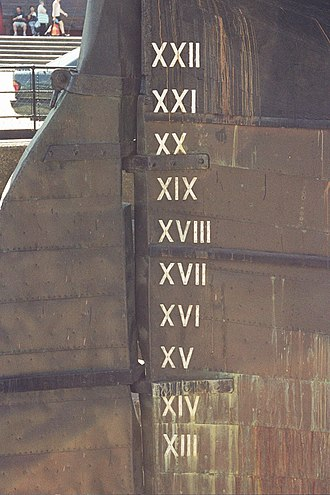 Roman numerals - Roman numerals on stern of a British clipper ship showing draft in feet. The numbers range from 13 to 22, from bottom to top.