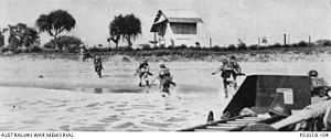 Battle of Madagascar - Allied soldiers landing from LCAs at Tamatave in May 1942