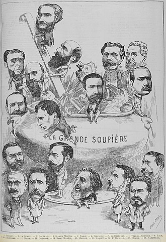 Ernest Roche - Boulangist deputies for the Seine Le Charivari, 1889. Roche is in the bottom right corner.