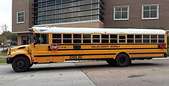 Dallas County Schools - A school bus previously operated by DCS in Irving, Texas.