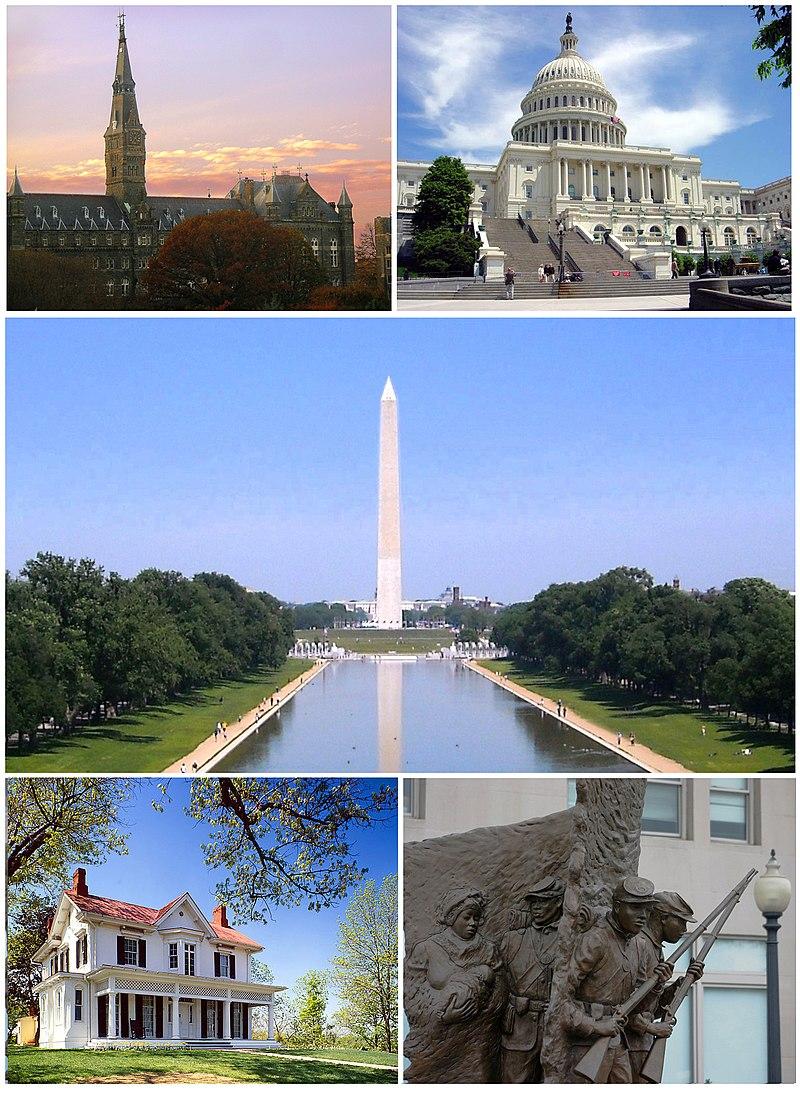 จากบนซ้าย: มหาวิทยาลัยจอร์จทาวน์, อาคารรัฐสภา, อนุสาวรีย์วอชิงตัน, สถานประวัติศาสตร์เฟรเดอริค ดักลาส, อนุสรณ์สถานสงครามกลางเมืองแอฟริกัน-อเมริกัน