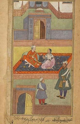 Chandrahasa - Madana tell Dushtabuddhi about Bisya marriage with chandrahasa , made by Dhanu . folio of Razmnama.