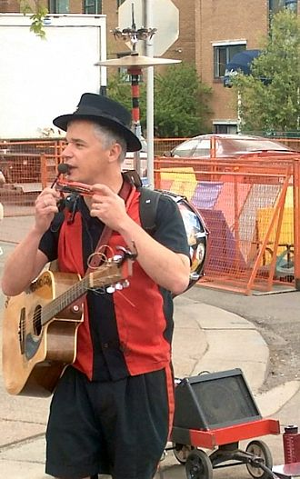 One-man band - A one-man band busking in Calgary, Alberta