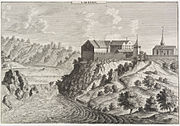 Laufen Castle with Rhine Falls. Engraving by David Herrliberger, 1750