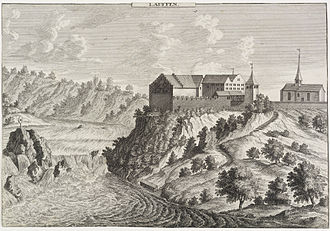 Laufen Castle (Switzerland) - Image: David Herrliberger Schloss Laufen mit Rheinfall c 1750