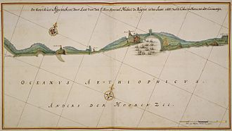 Dutch Gold Coast - Map of the Gold Coast ordered by Admiral Michiel de Ruyter in 1666, during the Second Anglo-Dutch War.