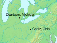 Physical map of the north central U.S. with two dots that show the flight from Dearborn, Michigan, over Lake Erie and then over land to Cadiz, Ohio.
