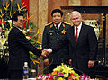 Defense.gov News Photo 101012-F-6655M-023 - Secretary of Defense Robert M. Gates shakes hands with Vietnamese President Nguyen Minh Triet in the Presidential Palace during the Association of.jpg
