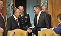 Defense.gov News Photo 120613-D-NI589-205 - Chairman of the U.S. Senate Appropriations Subcommittee on Defense Senator Daniel Inouye greets Secretary of Defense Leon E. Panetta shortly before.jpg