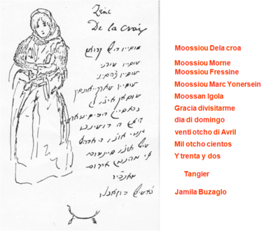 An original letter in Haketia, written in 1832. Delacroix letter.png