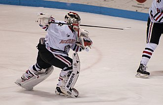 A goalie heads to the bench in order to allow for an extra attacker Delayed Penalty (4265089028).jpg