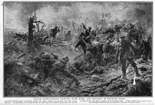 Monochrome image on newsprint type paper. Pen and charcoal sketch of multiple figures in hand–to–combat using rifles and bayonets. Numerous wounded and dead figures in the foreground. One officer standing with his back to viewer observing fighting.