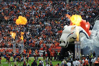 Thunder (mascot) - The tunnel from which Thunder emerges when he leads the Broncos onto the field is shaped like the Broncos' horsehead logo, and outside are cheerleaders, pyrotechnics and crowd noise.