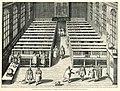 Der Büchersaal zu Leiden nach dem Stiche des J C Woudanus von 1610 Die Zeichnung von Lorichs hängt links unter den Fen - Lorck Melchior - 1610.jpg