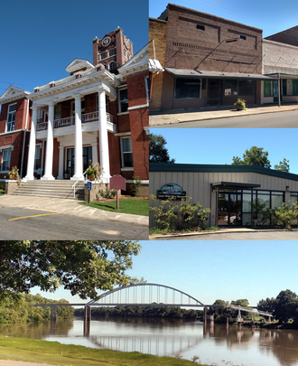 Des Arc, Arkansas - Clockwise, from top: Downtown Des Arc, the Lower White River State Park, the White River bridge, Prairie County Courthouse, Northern District