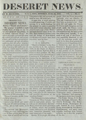 Deseret News - Front page of the first issue of the Deseret News, published June 15, 1850
