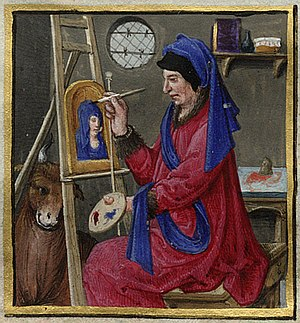 Miniature painting of a portrait artist (saint...