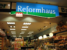 Entrance of a modern German Reformhaus store