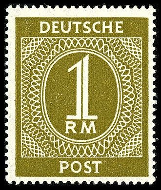 Names of Germany - Stamp in occupied Germany, 1946: the neutral expression Deutsche Post instead of Deutsche Reichspost, but still the old currency RM (Reichsmark)