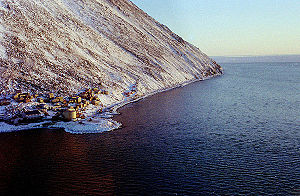 Little Diomede Island - Diomede (Inalik) village on the west coast of Little Diomede Island, Alaska