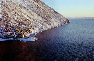 Little Diomede Island - Diomede (Inalik) village on the west coast of Little Diomede Island, Alaska