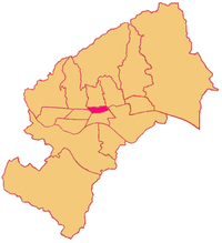 Location of Donji Grad within Zagreb, shown in pink.
