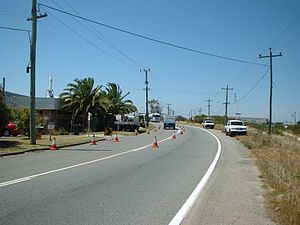 Road traffic control - Traffic diverted around work area in Kwinana, Western Australia