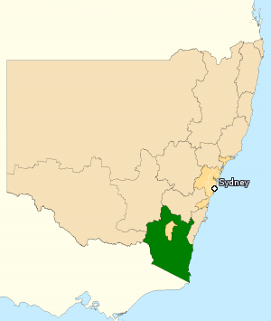 Division of Eden-Monaro - Division of Eden-Monaro in New South Wales, as of the 2016 federal election.