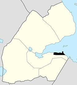 Djibouti City (Black) within Djibouti (White)