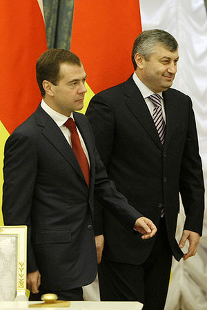 Russia–South Ossetia relations - Dmitry Medvedev with Eduard Kokoity on 30 April 2009 after signing an agreement on joint efforts to protect the state border of the Republic of South Ossetia.