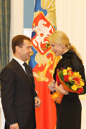 "Maria Shukshina - Shukshina receiving the title of ""Honored Artist of Russia"" with Dmitry Medvedev in 2008"