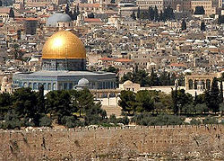 Jerusalem is an ancient and sacred city of key importance to three major religions:  Judaism, Christianity, and Islam. Pictured is the Dome of the rock. It is a constituent of the Mosque, 'Masjid-ul-Aqsa'