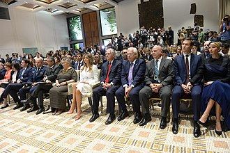 David M. Friedman - David Friedman, fourth from right in the front row of in Beit HaNassi (the President's Residence of Israel), during Donald Trump's visit to Israel, May 2017
