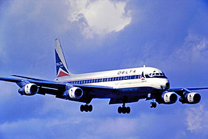History of Delta Air Lines - Douglas DC-8-51 of Delta Air Lines landing at Miami International Airport in 1971