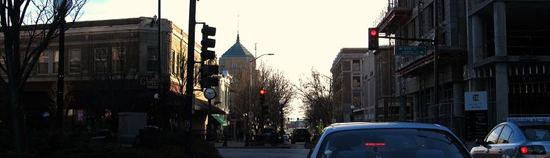 A panorama facing south on Neil Street of Downtown Champaign in November 2013