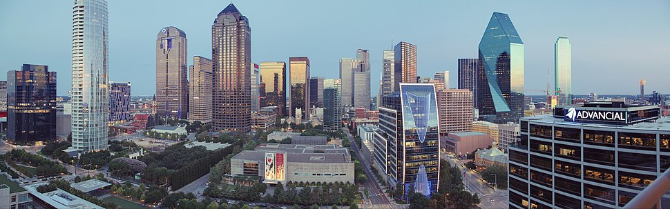 Skyline of Dallas. Overlooking Klyde Warren Park, Arts District and Downtown Dallas