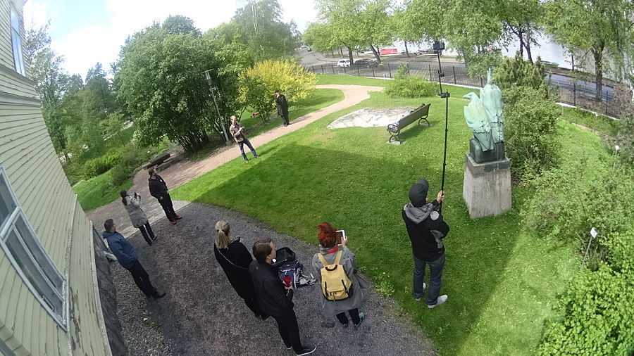 Photographing a work of art in the public space. Freedom of Panorama in Finland does not cover works of art, thus the work Eagles, 1903 by Bertel Nilsson was chosen, because it is already in Public Domain.