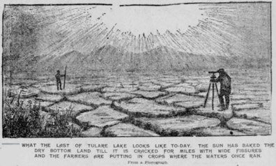 Drawing of the dry, cracked, and barren former lakebed of Tulare in California in 1898