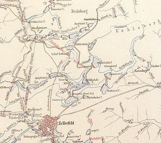 Upper Harz Water Regale - Sketch of ponds, ditches and tunnels between Zellerfeld and Bockswiese around 1868
