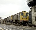 EE type-1 Bo-Bo nos. 20154 & 20155 head south with a train at Coalville, Nigel Tout, 11.7.75.jpg