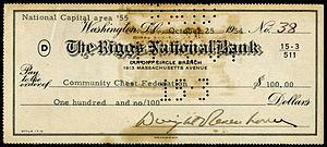 Bank number - Washington, DC, bank number 3 on 1954 check.