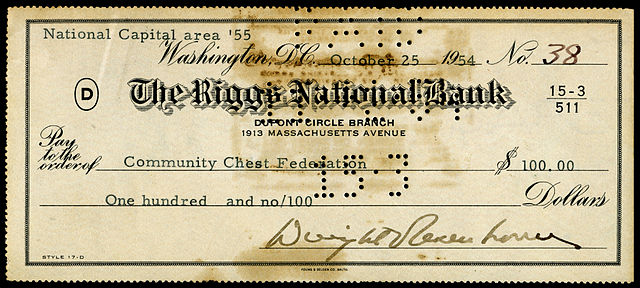 A signed check by Dwight D. Eisenhower during his first term as the 34th President of the United... [+] States. Image credit: National Numismatic Collection at the Smithsonian Institution.