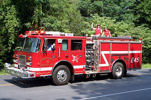 Albemarle County, Virginia - Earlysville Volunteer Fire Company Engine 45 at the Independence Day Parade.