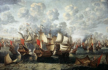 The naval Battle of the Sound took place on 8 November 1658 during the Dano-Swedish War. Eerste fase van de Zeeslag in de Sont - First phase of the Battle of the Sound - November 8 1658 (Jan Abrahamsz Beerstraten, 1660).jpg