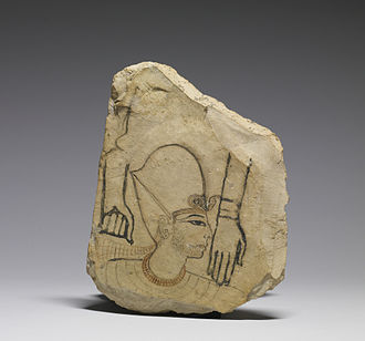 Ostracon - The New Kingdom pharaoh depicted on this limestone fragment  bears the finesse of a master's hand. The two arms, however, are rendered more crudely. It is likely that a master used this ostracon to teach his student, and the work of both individuals can be seen on the piece. Walters Art Museum, Baltimore.