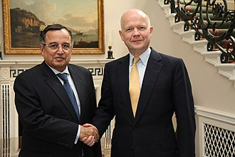 Egypt–United Kingdom relations - British Foreign Secretary William Hague meeting former Egyptian Foreign Minister Nabil Fahmy in London, May 2014.