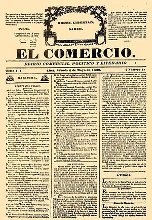 El Comercio (Peru) - Issue 1 of El Comercio, released May 4, 1839.