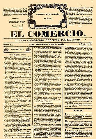 El Comercio (Peru) - Issue 1 of El Comercio, released May 4, 1839.