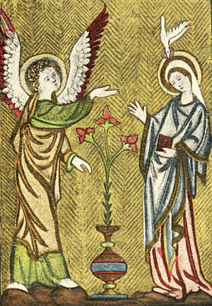 Opus Anglicanum - Image: Embroidered bookbinding 13th century Annunciation